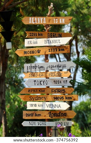 Hand made wooden sign with destinations to world largest cities. - stock photo