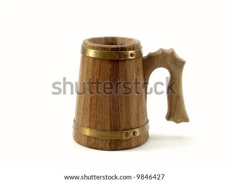 hand-maded oak beer-mug - stock photo