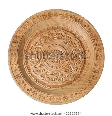 Hand maden wooden plate isolated on white background - stock photo