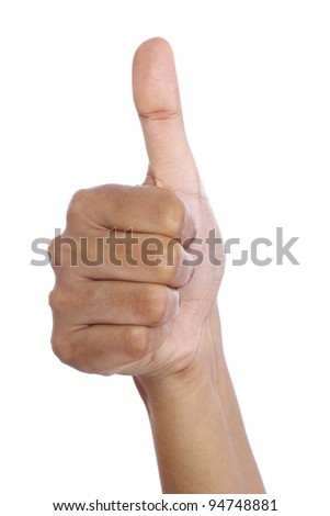 Hand make thumbs up on white