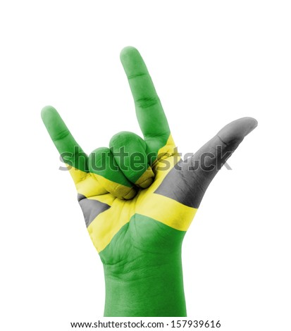 Hand making I love you sign, Jamaica flag painted, multi purpose concept - isolated on white background - stock photo