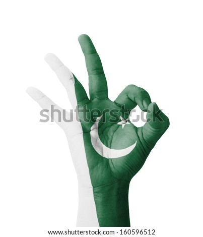 Hand making Ok sign, Pakistan flag painted as symbol of best quality, positivity and success - isolated on white background - stock photo