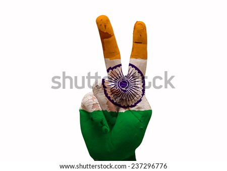Hand making the V sign india country flag painted - stock photo