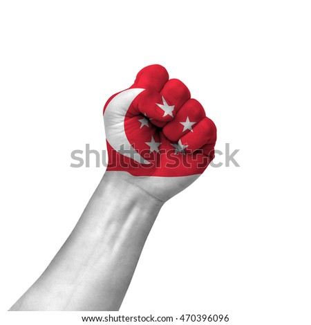 Hand making victory sign, singapore painted with flag as symbol of victory, resistance, fight, power, protest, success - isolated on white background