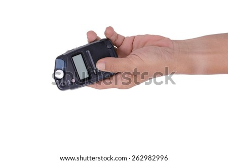 hand male with professional light metering or photometer tool, digital flash-meter, isolated on white background - stock photo