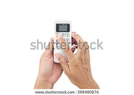 Hand man asia is holding a remote control of air conditioner 22 degrees ,Energy saving concept,on white background