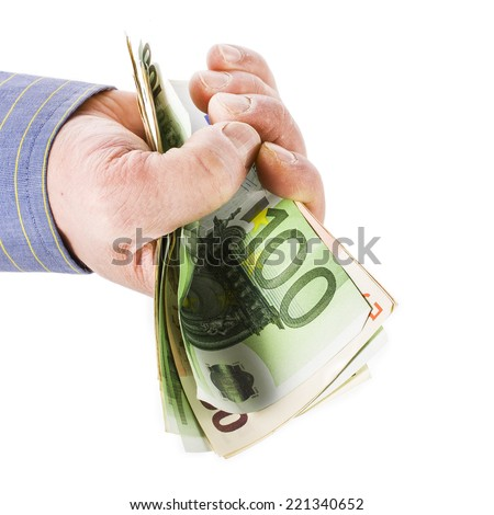 hand man holding euro banknotes  isolated on white background - stock photo