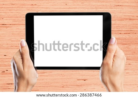 Hand, man, tablet. - stock photo