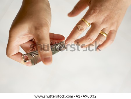 hand manicure with trimmer
