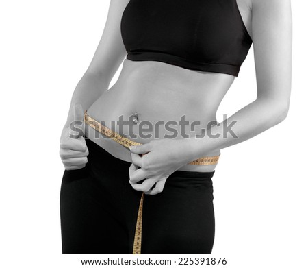 Hand measuring waist, weight loss concept. - stock photo