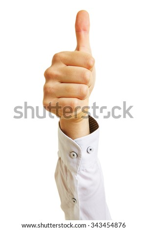 Hand of a business manager holding thumbs up - stock photo