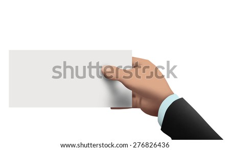 Hand of a businessman holding a blank white ticket - stock photo