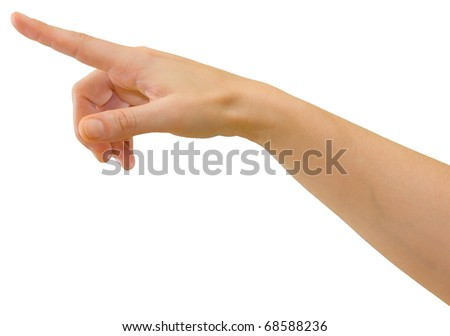 Hand of a caucasian female pointing or pressing a button etc., isolated on white