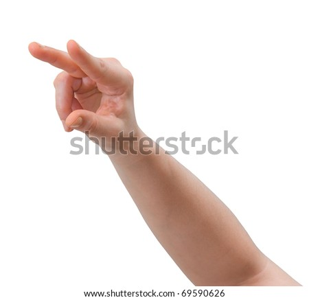 Hand of a caucasian female pointing or pressing objects on a multi-touch screen interface, isolated on white