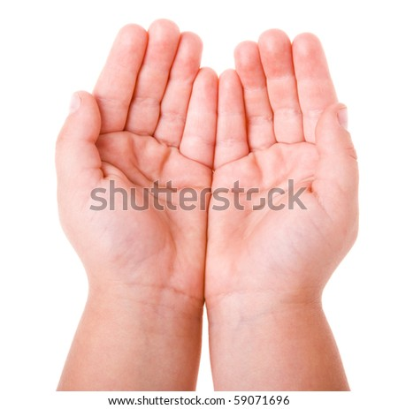 hand of a child on a white background - stock photo