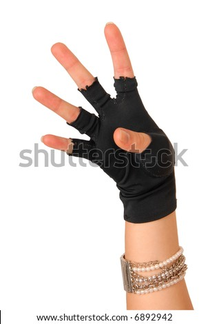 hand of a girl in black glove counting four - stock photo