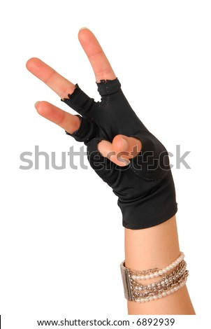 hand of a girl in black glove counting three - stock photo