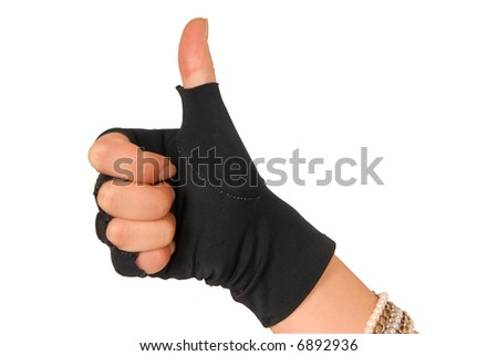 hand of a girl in black glove showing that everything is fine - stock photo