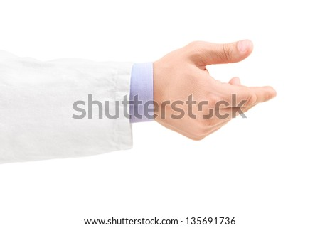 Hand of a male doctor, isolated on white background