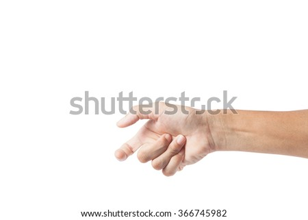 Hand of a male to hold card, mobile phone or other, with clipping path - stock photo