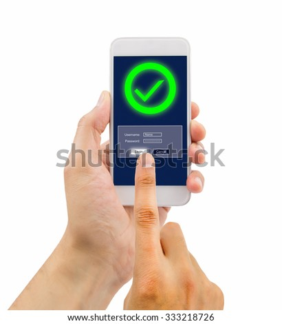 hand of a man entering the password in the smartphone with success on white background - stock photo