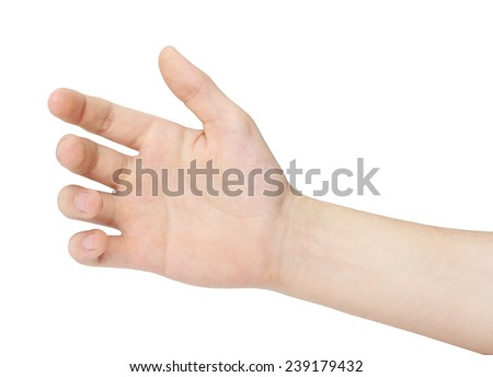 Hand of a man to hold card, mobile phone, tablet PC or other palm gadget, isolated - stock photo