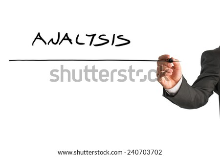 Hand of a man writing Analysis on a virtual screen with a marker pen with copyspace below. - stock photo