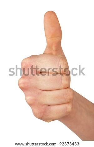 Hand of a woman with thumb up isolated on a white background