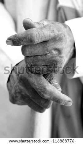hand of an old man - stock photo