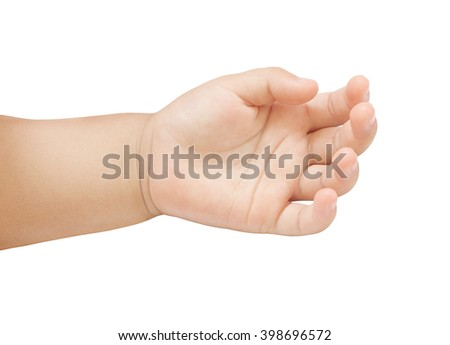Hand of asian baby on white background.
