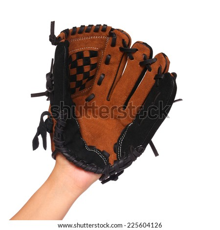 Hand of Baseball Player with Glove isolated on white - stock photo