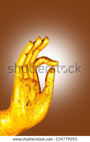 Hand Buddha On Brown Background Stock Photo 154779095 Shutterstock