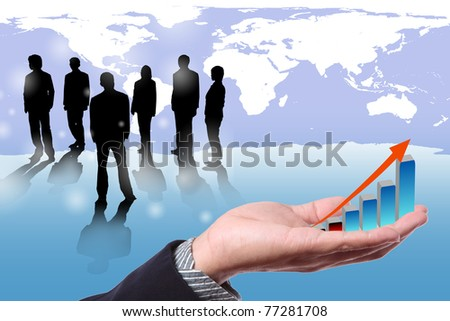 hand of business man with growing graph  and people standing with world map