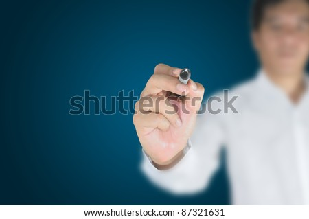 Hand of business man write or writing on tablet pc touch screen - stock photo