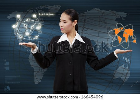 Hand of business woman touching virtual screen the social network concept. - stock photo