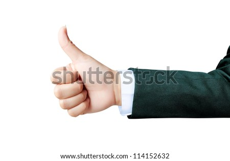 hand of business women giving like on background white - stock photo