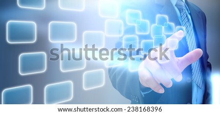 hand of businessman and social network on tech  - stock photo
