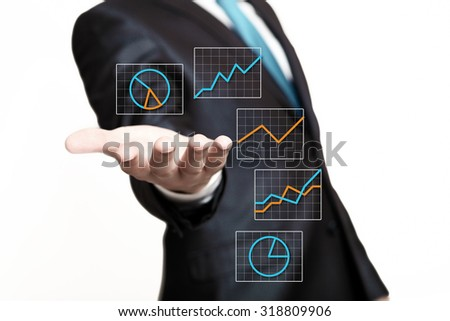 Hand of businessman presenting icons on virtual screen