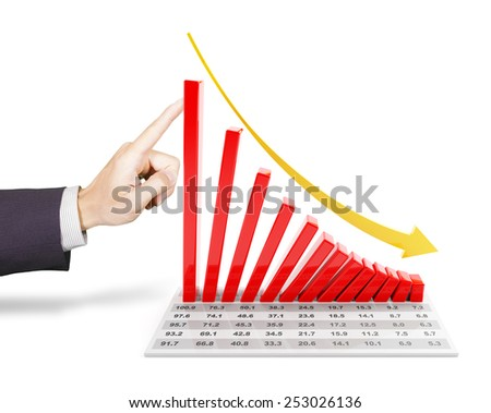 Hand of businessman pushing a 3d rendered falling chart - stock photo