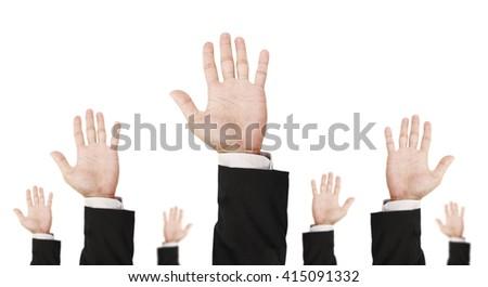 Hand of businessman raising upward, isolated on white background - stock photo