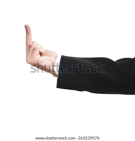 Hand of Businessman show fuck sign isolated on white background