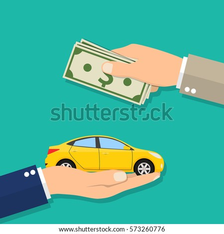 Hand of businessman with money buying a car. illustration in flat design