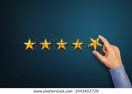 Hand of client giving a five star rating. Service rating, satisfaction concept