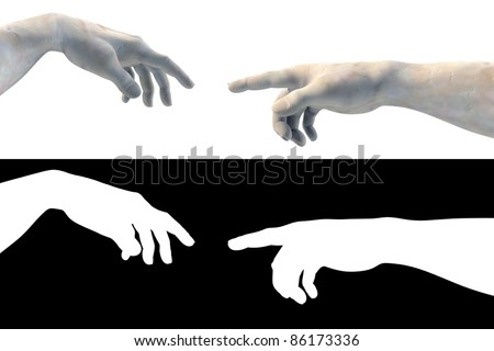 Hand of God Adam made of white marble on white - stock photo