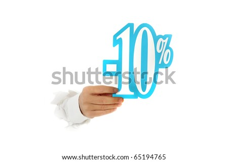Hand of man breaking through a paper wall showing ten percent discount sign. Copy space. Studio shot. White background. - stock photo