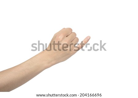 hand of promise gesture, isolated on white - stock photo