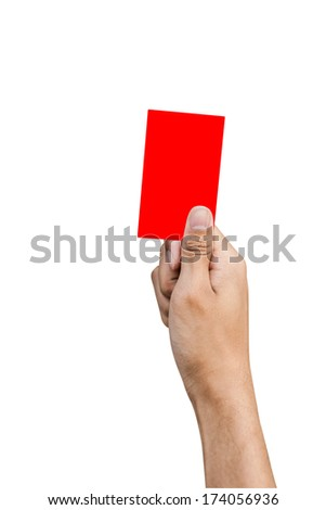 Hand of referee with red card isolated on white background - stock photo