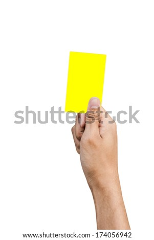 Hand of referee with yellow card isolated on white background - stock photo