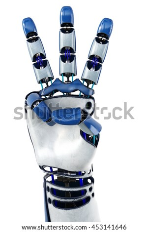 Hand of robot showing numbers. Isolated on white background. 3D illustration.