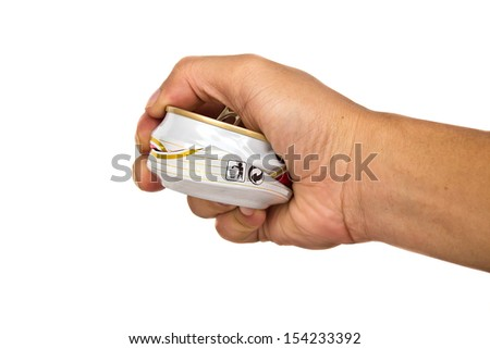 hand of someone press beer can for recycle isolated on white  - stock photo